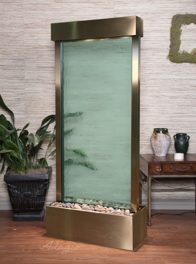 Floor Fountain - Harmony River (Centered In Base) - Green Glass - Stainless Steel - hrc2052a